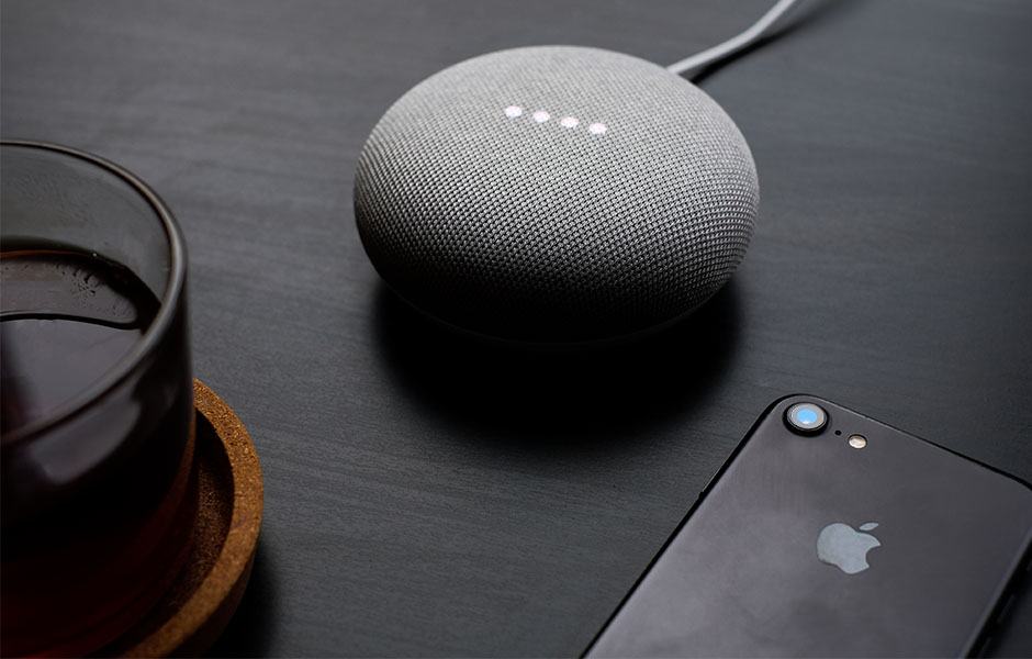 Voice assistant device at a person's home