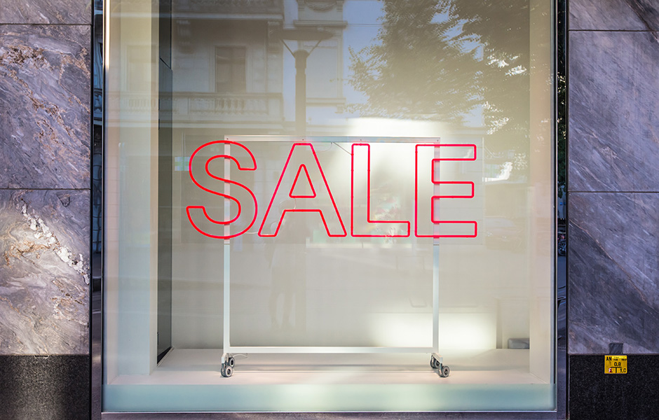 sale sign at store