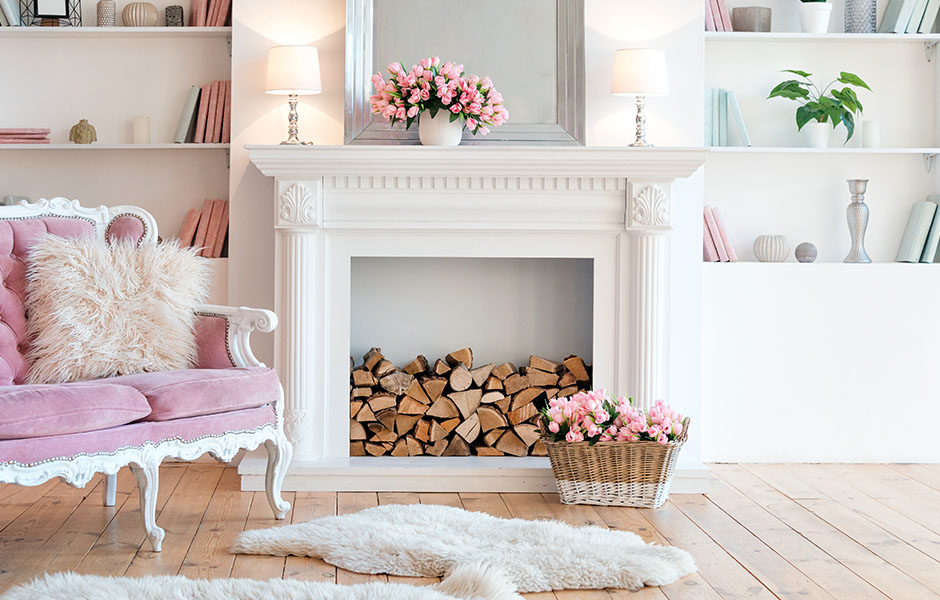 Feminine fireplace with bright colors