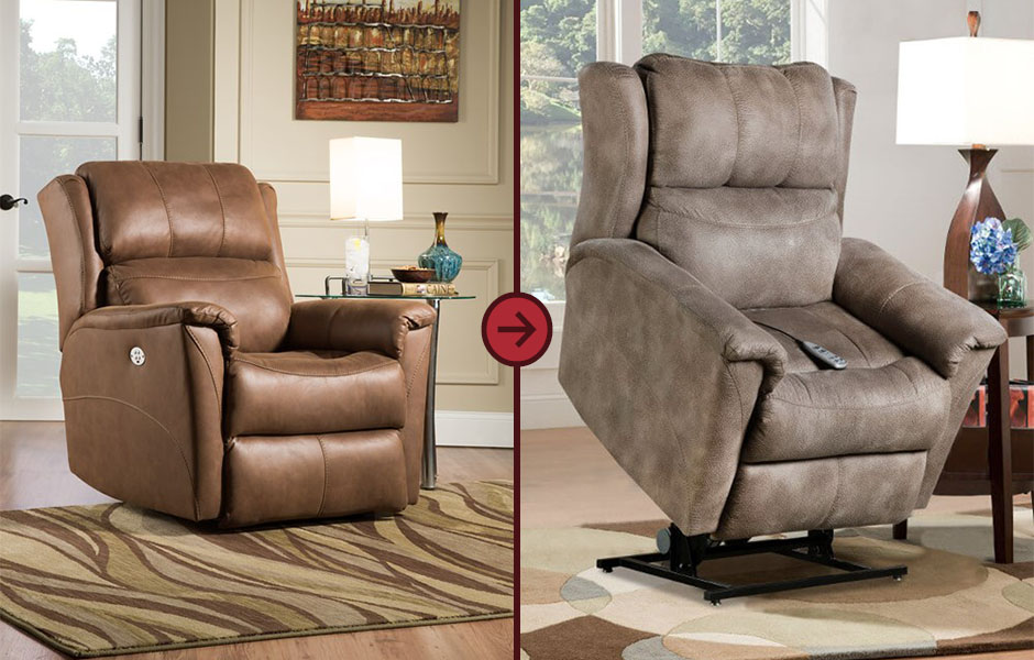 Southern Motion Lift Recliners guide the seated occupant to the standing position.
