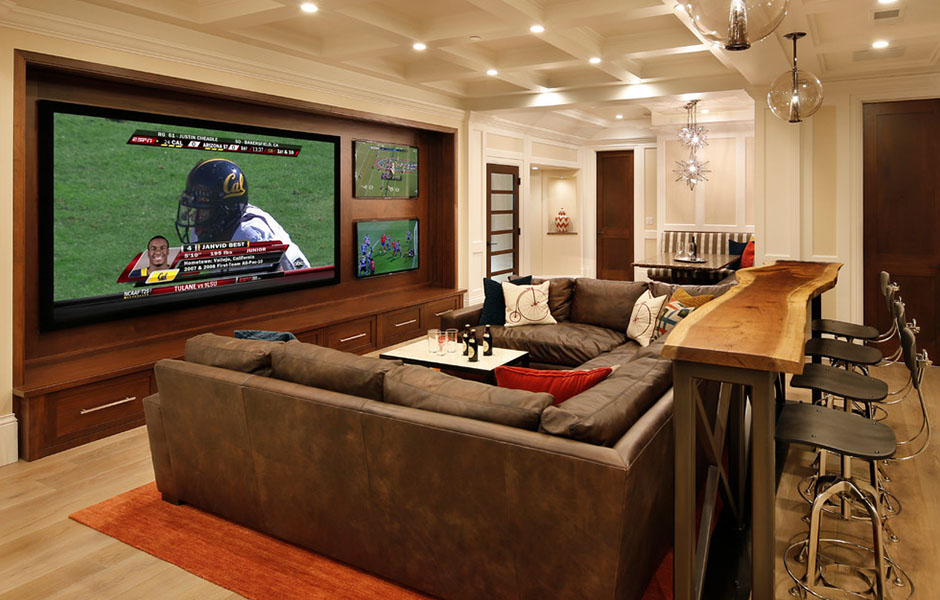 Man cave with roomy sectional to fit the whole family.