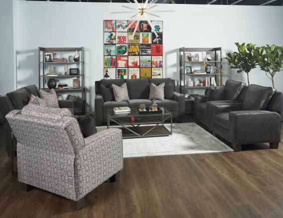 685-West-End-in-229-14-Mohair-Charcoal-390-11-Bangle-Ruby-905-14-Surreal-Graphite-2-Leather-Recliners-Showroom-Vignette-sml