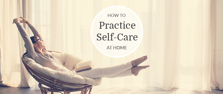 Woman trying self-care tips at home