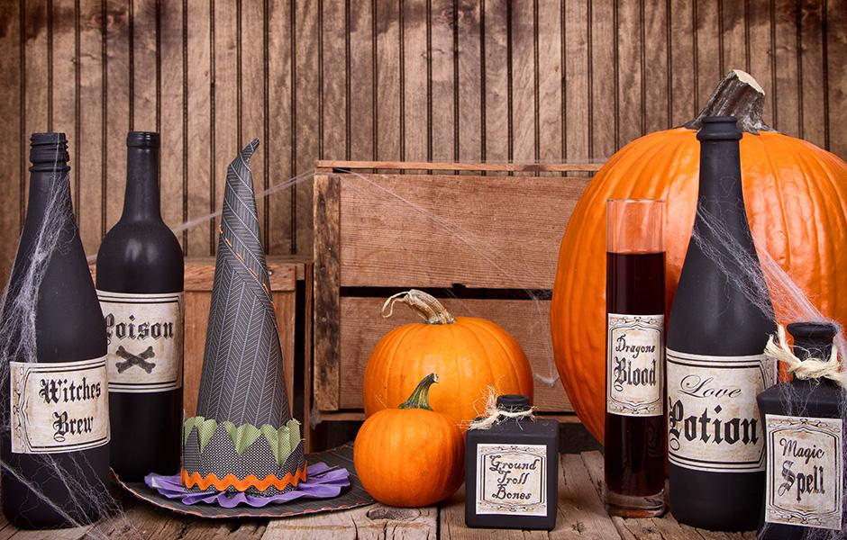 Potion bottles for Halloween decor