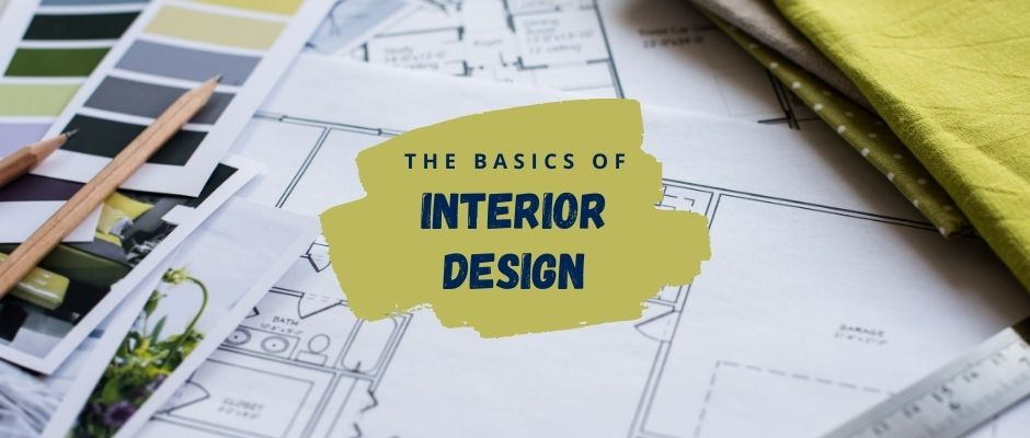 Interior design planning with color swatches and blue prints